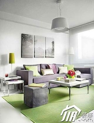 简约风格小户型小清新3万-5万60平米客厅沙发背景墙沙发效果图