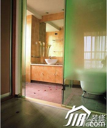 混搭风格小清新绿色富裕型卫生间洗手台效果图