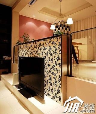 欧式风格复式富裕型130平米电视背景墙设计图纸