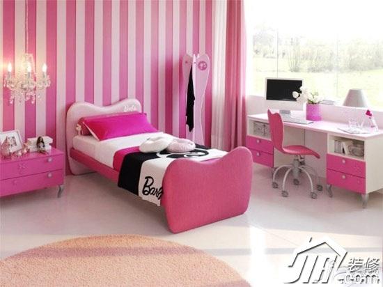 混搭风格粉色富裕型卧室壁纸效果图