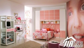 混搭风格粉色富裕型卧室卧室背景墙书桌效果图