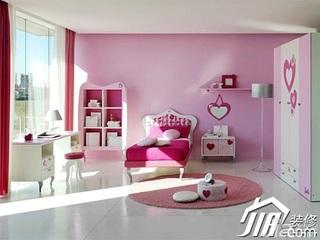 混搭风格粉色富裕型卧室儿童床效果图