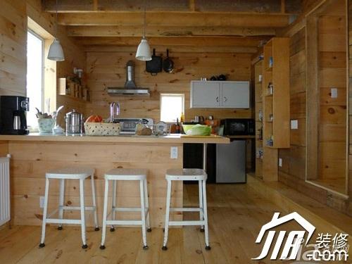 田园风格别墅舒适原木色富裕型厨房吧台橱柜安装图