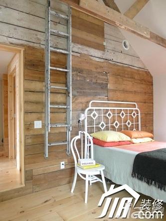 田园风格别墅舒适原木色富裕型卧室床效果图