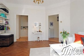 简约风格二居室白色经济型80平米客厅书架效果图