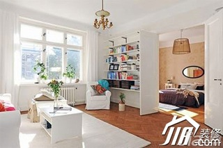 简约风格二居室白色经济型80平米客厅茶几效果图