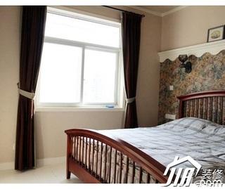 中式风格3万-5万60平米卧室窗帘效果图