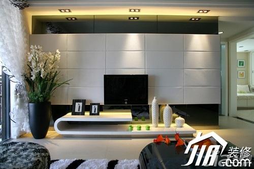 大气5-10万110平米客厅电视背景墙窗帘效果图
