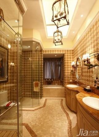 欧式风格别墅温馨卫生间背景墙洗手台图片