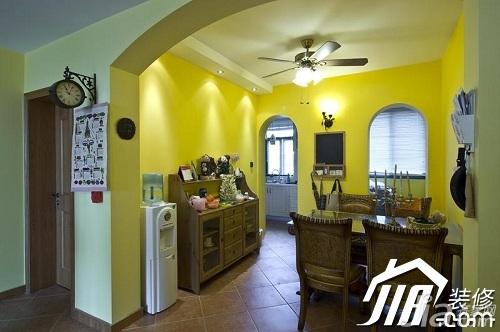东南亚风格公寓黄色富裕型90平米餐厅橱柜设计图纸