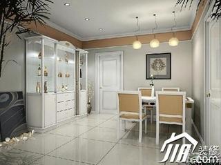 欧式风格复式豪华型餐厅餐边柜效果图