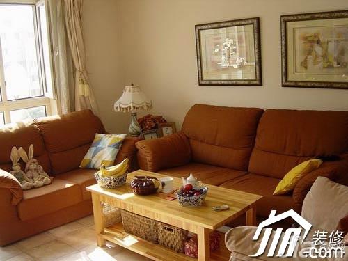 田园风格小户型舒适经济型50平米客厅沙发效果图