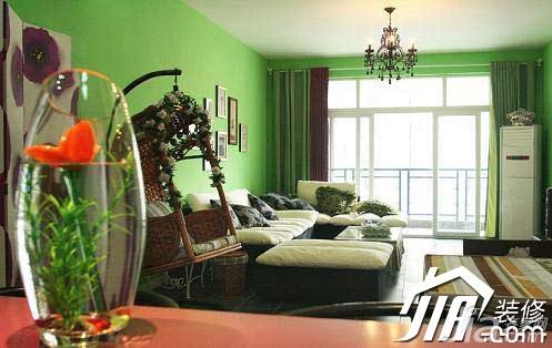 混搭风格小户型绿色富裕型60平米客厅设计