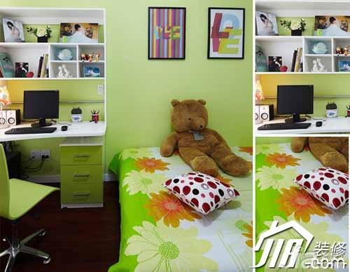小户型小清新绿色3万-5万60平米儿童房卧室背景墙床效果图