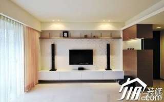 简约风格公寓富裕型130平米电视背景墙窗帘图片