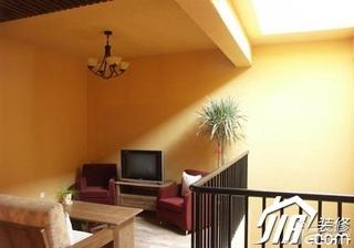 地中海风格别墅原木色富裕型客厅沙发效果图