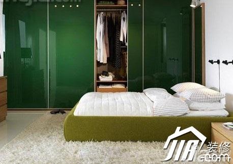 地中海风格公寓小清新绿色富裕型50平米卧室衣柜效果图