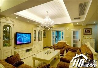 欧式风格别墅简洁富裕型客厅电视背景墙沙发效果图