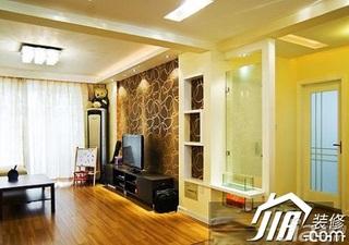 混搭风格小户型温馨5-10万60平米客厅电视背景墙电视柜效果图
