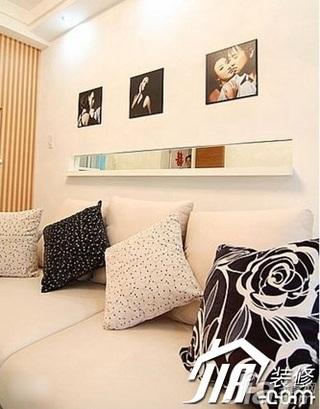 混搭风格小户型简洁富裕型60平米客厅沙发背景墙沙发效果图