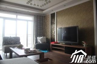 混搭风格公寓富裕型客厅壁纸效果图