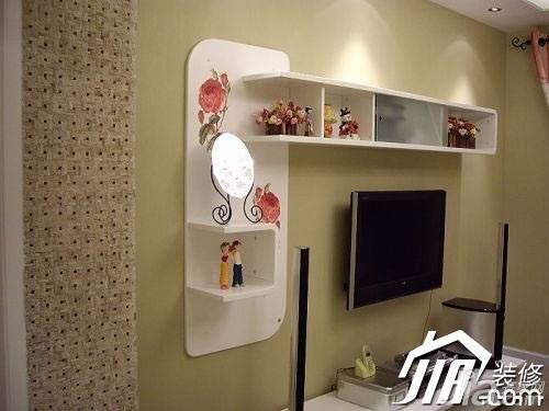 田园风格公寓富裕型130平米电视背景墙装修效果图