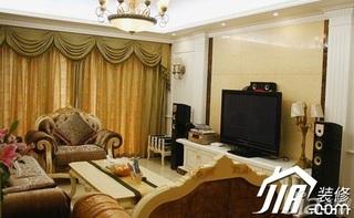 欧式风格三居室豪华型120平米电视背景墙效果图