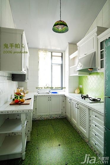 鬼手帕田园风格三居室绿色富裕型厨房橱柜订做