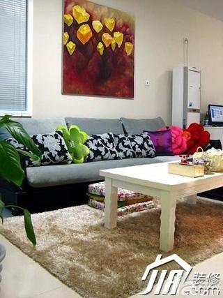 小户型5-10万60平米客厅沙发背景墙茶几图片