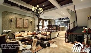 别墅大气豪华型客厅沙发背景墙沙发效果图
