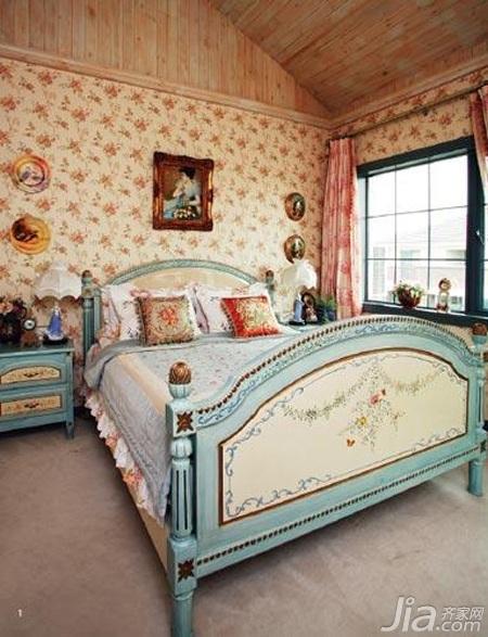 欧式风格三居室舒适10-15万120平米卧室卧室背景墙床效果图