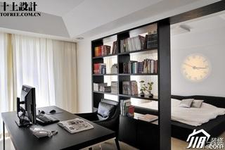 十上简约风格黑白富裕型130平米卧室隔断书架效果图