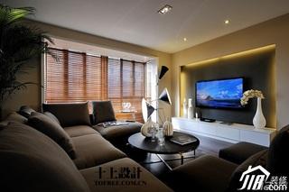 十上欧式风格公寓130平米客厅电视背景墙茶几效果图
