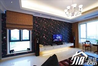 欧式风格别墅豪华型客厅电视背景墙电视柜效果图