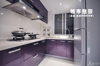 公寓紫色富裕型厨房橱柜安装图