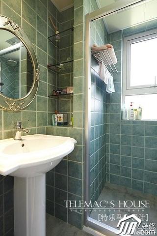 田园风格绿色富裕型卫生间背景墙洗手台效果图