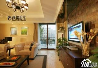 欧式风格公寓简洁豪华型客厅电视背景墙沙发效果图