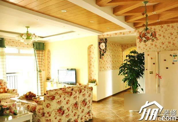 田园风格公寓浪漫富裕型客厅电视背景墙沙发效果图