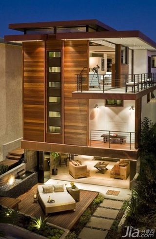 东南亚风格别墅原木色豪华型卧室木门效果图