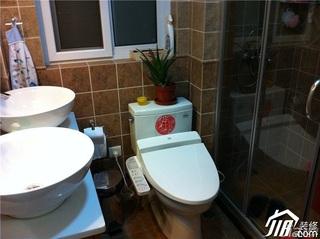 宜家风格二居室60平米卫生间洗手台婚房平面图