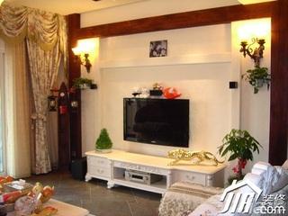 田园风格豪华型客厅电视背景墙窗帘效果图