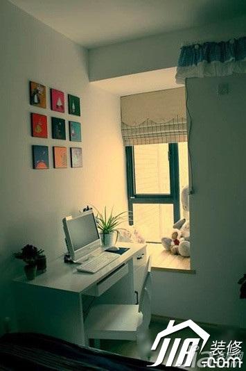 简约风格公寓3万-5万书房背景墙书桌效果图