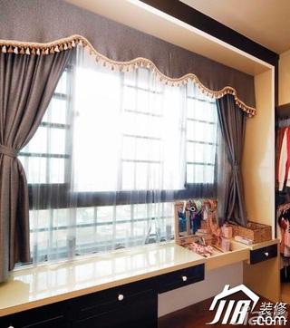 田园风格四房富裕型飘窗窗帘效果图