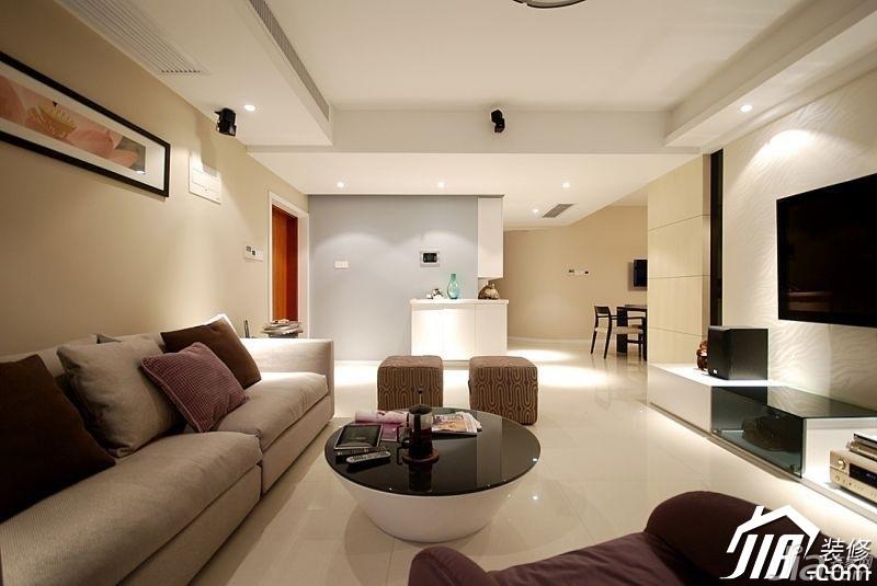 简约风格三居室简洁白色120平米客厅沙发背景墙沙发图片