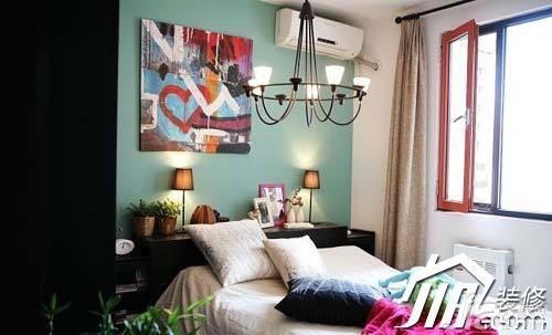 混搭风格公寓经济型90平米卧室卧室背景墙床婚房家装图片