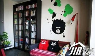 混搭风格公寓经济型90平米书房沙发背景墙沙发婚房平面图