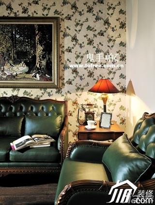 鬼手帕新古典风格复式60平米客厅沙发背景墙沙发效果图