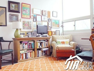混搭风格小户型经济型70平米书房照片墙沙发效果图