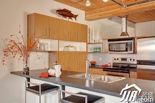 田园风格公寓富裕型70平米厨房吧台橱柜设计图纸图片