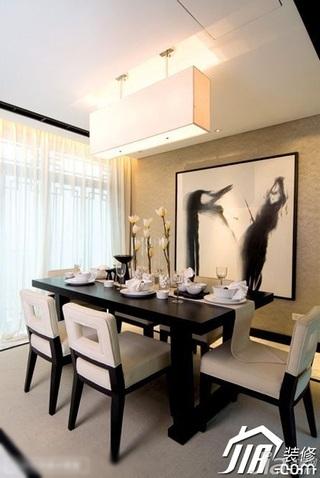 中式风格公寓艺术富裕型90平米餐厅吧台餐桌图片
